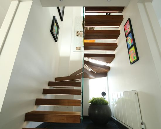 glass and wood staircases